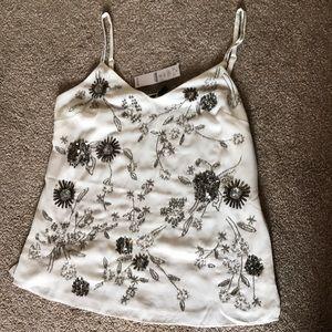 NWT WHBM Embellished Camisole Ecru Silver size XS